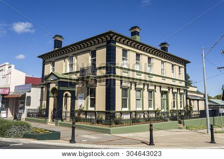 Glen Innes, Australia - April 12, 2019: View Of The Magnificent 1874 Georgian Palace, Today Working