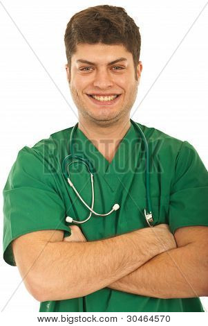 Close Up Of Laughing Doctor Man