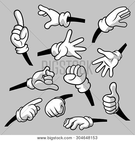 Cartoon Hands With Gloves Icon Set Isolated. Vector Clipart - Parts Of Body, Arms In White Gloves. H