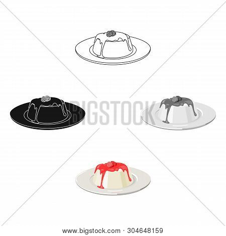 Panna Cotta Icon In Cartoon, Black Style Isolated On White Background. Milk Product And Sweet Symbol