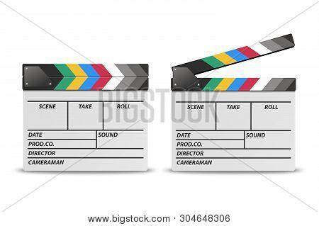 Vector 3d Realistic Blank Closed And Opened Movie Film Clap Board Icon Set Closeup Isolated On White
