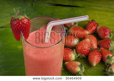 refreshing healthy yogurt  strawberry smoothie milk shake