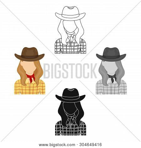 Cowgirl Icon In Cartoon, Black Style Isolated On White Background. Rodeo Symbol Stock Vector Illustr