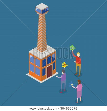 Isometric Illustration Of People Entering A Tower Building