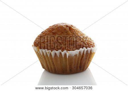 Banana Cupcake Isolated In White Background