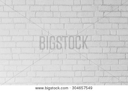 Abstract White Brick Cement Wall Texture Background, Grunge Block Grey Concrete Construction Archite