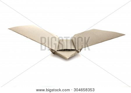 Origami Paper Bird By Recycle Papercraft In White Background