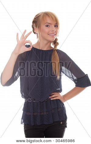 Young Woman Showing Sign Okey