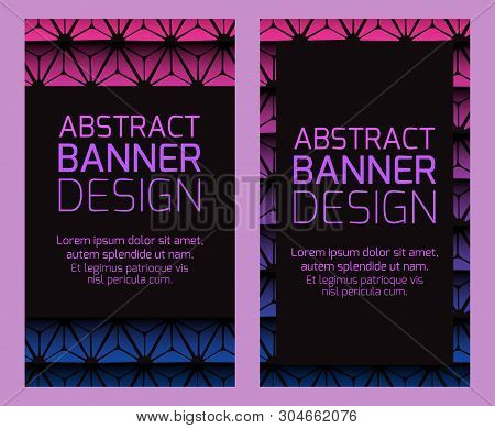 Set Of Black Vertical Banners With Triangular Poligonal Background. Objects Separate From The Backgr