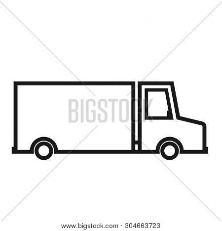Delivery truck outline icon. Clipart image isolated on white background
