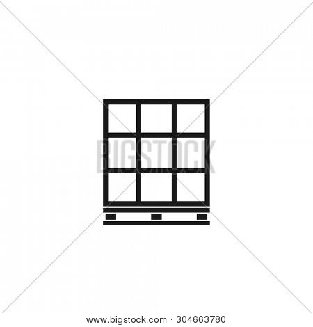 Pallet with boxes outline icon. Clipart image isolated on white background