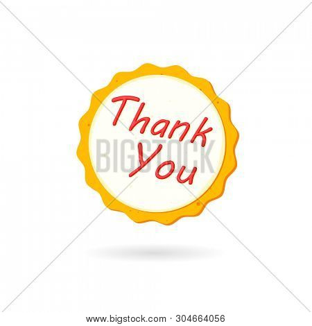 Thank you cookie icon. Clipart image isolated on white background