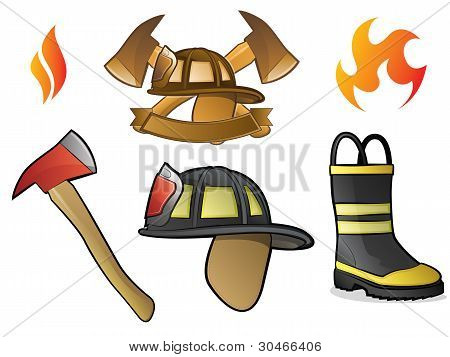 Firefighter and Fireman Icons