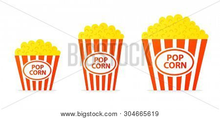 Popcorn In Striped Bucket icon set. Food clipart isolated on white background