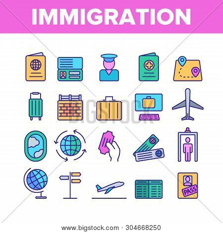 Immigration, Abroad Travel Vector Linear Icons Set. Immigration, Foreign Country Trip Outline Symbol