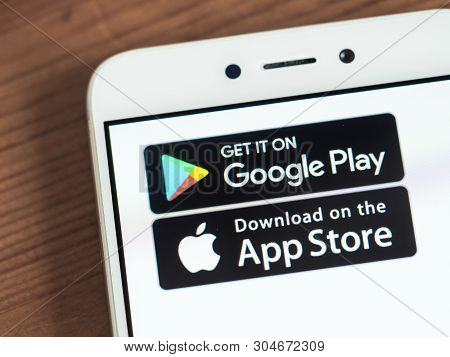 Moscow, Russia - June 03, 2019: Google Play And App Store Icons On Smartphone Screen. App Store And