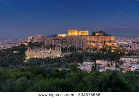 The Acropolis Of Athens, Greece, With The Parthenon Temple At Night, Athens, Greece.
