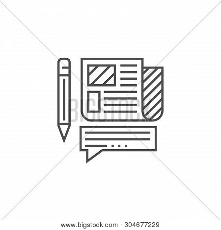 Press Release Related Vector Thin Line Icon. Isolated On White Background. Editable Stroke. Vector I