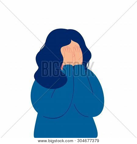 Depressed Young Girl Crying Covering Her Face With Her Hands. Weeping Woman Emotions Grief. Human Ch