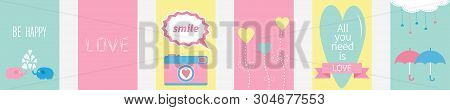 All You Need Is Love Quote Text. Elephant Family Couple, Photocamera, Flower, Heart, Umbrella, Cloud