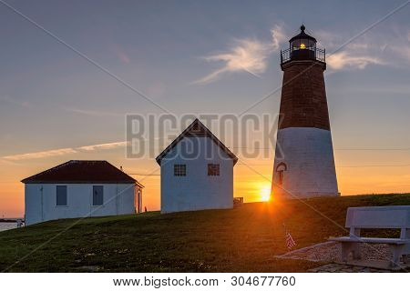 Spectacular Sunset At Rhode Island Lighthouse At Sunset, Point Judith Lighthouse, Rhode Island, Usa.
