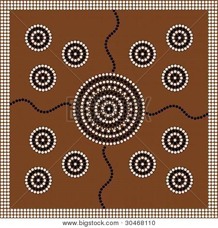 Aboriginal Style Of Dot Painting Depicting Circle.