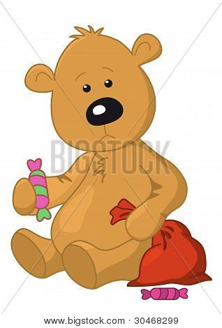 Sad teddy bear sits with a sweet and Christmas bag, vector poster
