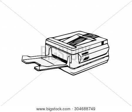 Copy Machine Or Photocopier. Office Multifunction Device Isolated On White Background. Flat Vector I