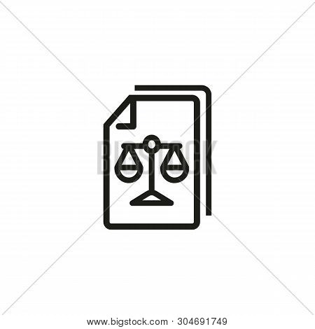 Legal Paper Line Icon. Scales, Document, Law. Justice Concept. Can Be Used For Topics Like Court, Pu