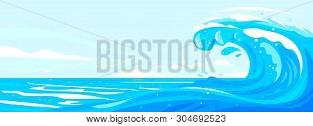 One Big Blue Ocean Wave In Side View Illustration Landscape, Wonderful Surfing Wave In Ocean, Panora