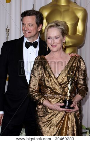 LOS ANGELES - FEB 26:  Colin FIrth; Meryl Streep arrives at the 84th Academy Awards at the Hollywood & Highland Center on February 26, 2012 in Los Angeles, CA.