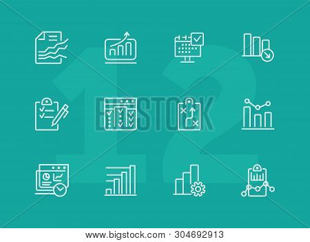 Analytics Line Icon Set. Graph, Diagram, Chart. Analysis Concept. Can Be Used For Topics Like Busine