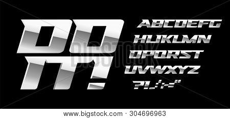 Silver Letters And Symbols Set On Black Background. Metal Style Vector Latin Alphabet. Font For Auto