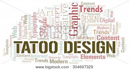 Tatoo Design Word Cloud. Wordcloud Made With Text Only.