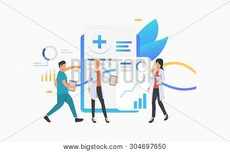 Medical Workers Analyzing Electronic Record Vector Illustration. Diagnostic Center, Medical Innovati