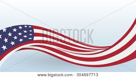 Usa Waving National Flag. Modern Unusual Shape. Design Template For Decoration Of Flyer And Card, Po