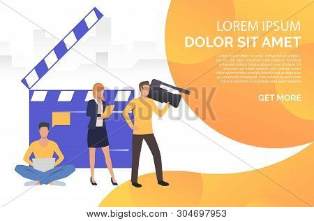 People Making News And Man Watching Footage Vector Illustration. Online News, Tv Studio, Videotaping