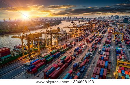 Container Ship In Import Export And Business Logistic, By Crane, Trade Port, Shipping Cargo To Harbo