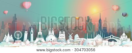 Vector Travel Landmarks Of Europe With Skyscraper And Colorful Sunrise, Traveling World Famous Capit