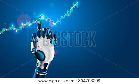 Robot Or Cyborg Hand Taps Finger On Chart Of Trading Data Of Forex Stock Exchange. App Or Software W