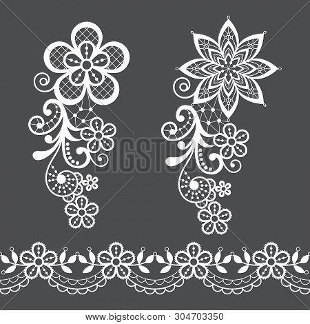 Vitnage Lace Half Single Vector Pattern Set - Floral Lace Design Collection, Retro Openwork Backgrou