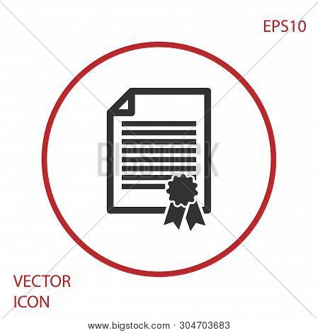 Grey Certificate Template Icon Isolated On White Background. Degree Icon. Achievement, Award, Grant,