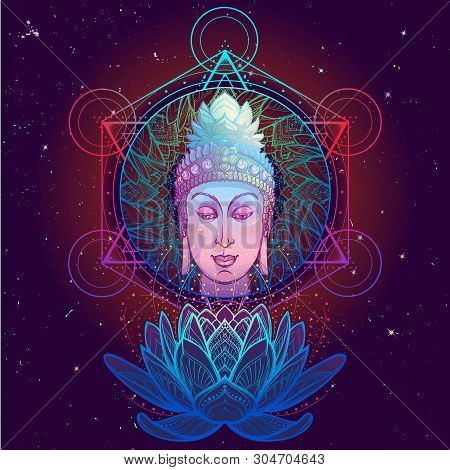Buddhas Head With A Sacred Om Symbol Glowing On His Forehead. Anahata Chakra Drawing On A Background