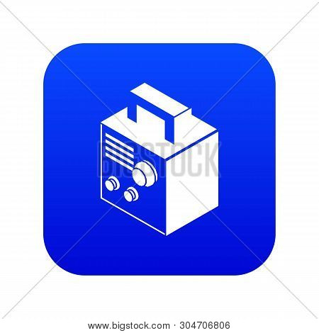 Electro Welding Machine Icon Blue Vector Isolated On White Background