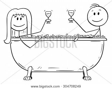 Vector Cartoon Stick Figure Drawing Conceptual Illustration Of Man And Woman Relaxing Together In Ba