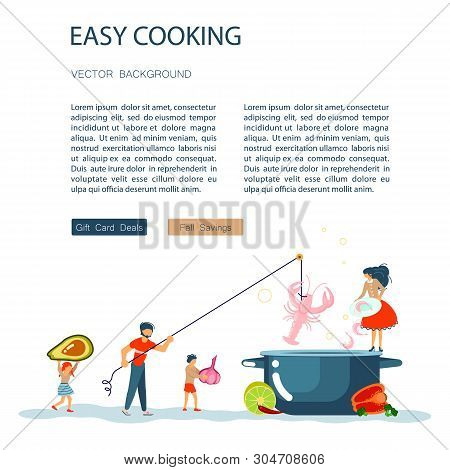 Easy Cooking Landing Page Website Template. Father Mother With Their Kids Preparing Dinner Together.