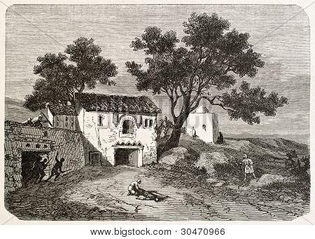 Koukou mosquee and Marabout's house, Algeria. Created by Dohousset, published on Le Tour du Monde, Paris, 1867