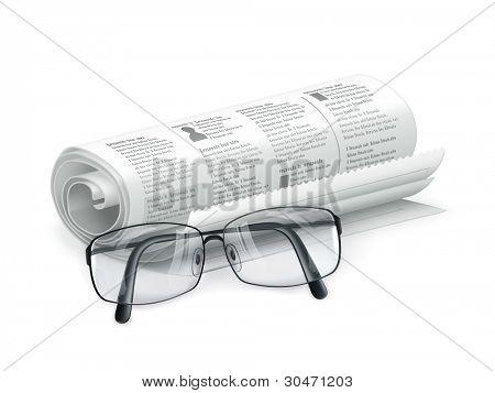 Periódico y gafas, vector