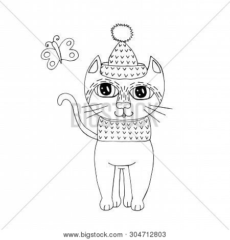 poster of Cartoon cat for coloring book or pages. Sweet black line cat. Cat coloring.
