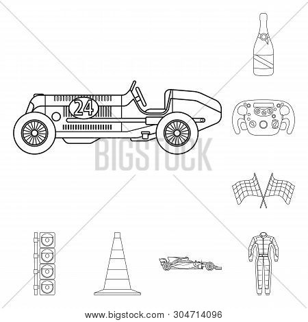 Vector Illustration Of Car And Rally Sign. Set Of Car And Race Vector Icon For Stock.